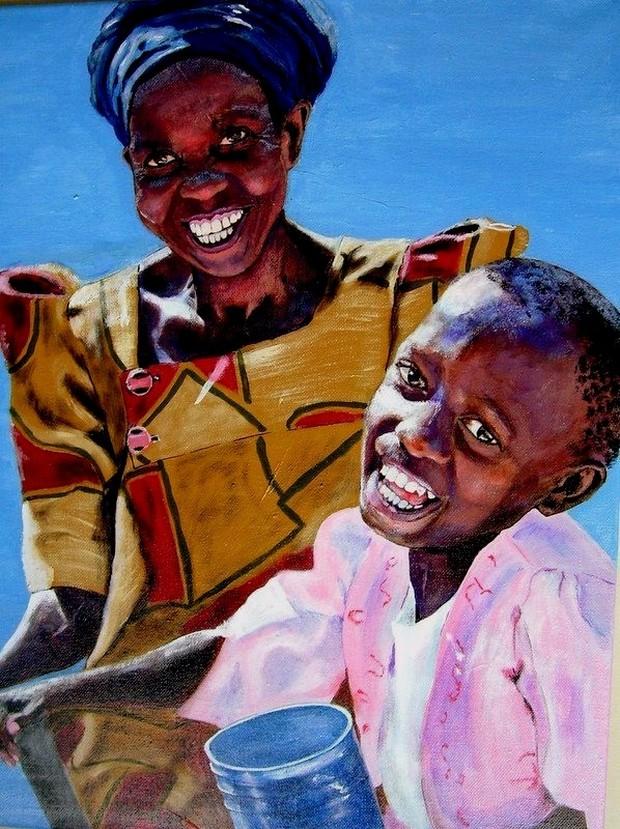 Lachend moeder en kind